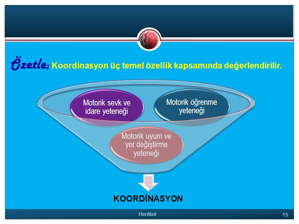Özetle ; Koordinasyon üç temel özellik kapsamında değerlendirilir.
