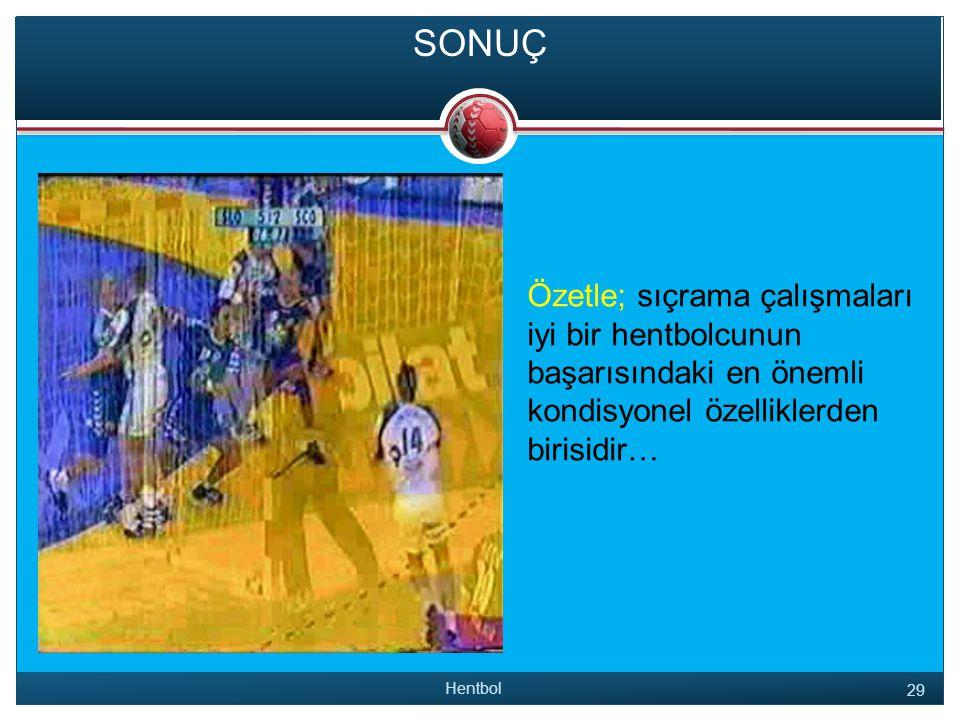 SONUÇ Özetle; sıçrama çalışmaları iyi bir hentbolcunun başarısındaki en önemli kondisyonel özelliklerden birisidir… Hentbol 29