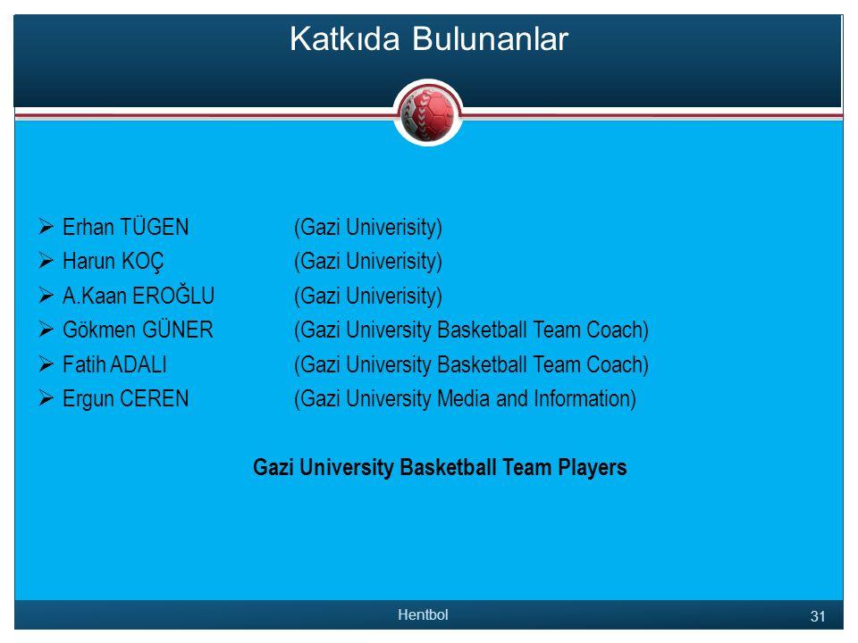 Katkıda Bulunanlar  Erhan TÜGEN(Gazi Univerisity)  Harun KOÇ(Gazi Univerisity)  A.Kaan EROĞLU(Gazi Univerisity)  Gökmen GÜNER(Gazi University Basketball Team Coach)  Fatih ADALI(Gazi University Basketball Team Coach)  Ergun CEREN(Gazi University Media and Information) Gazi University Basketball Team Players Hentbol 31