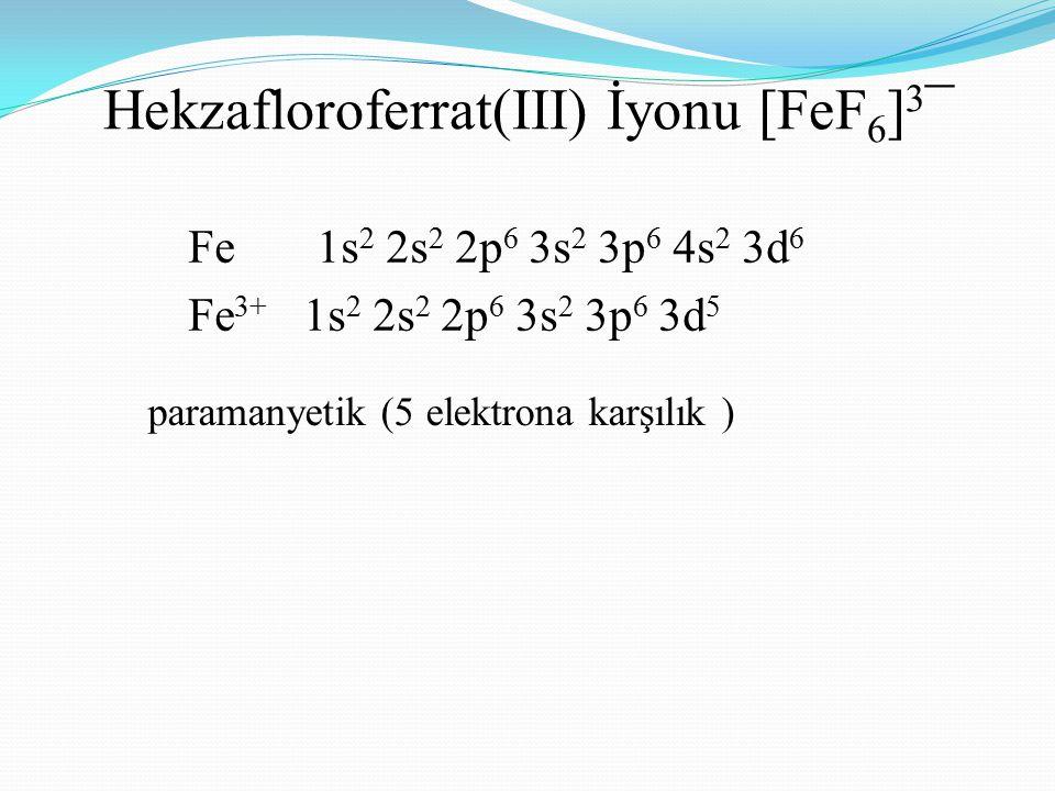 Hekzafloroferrat(III) İyonu [FeF 6 ] 3 ¯ paramanyetik (5 elektrona karşılık ) Fe 1s 2 2s 2 2p 6 3s 2 3p 6 4s 2 3d 6 Fe 3+ 1s 2 2s 2 2p 6 3s 2 3p 6 3d