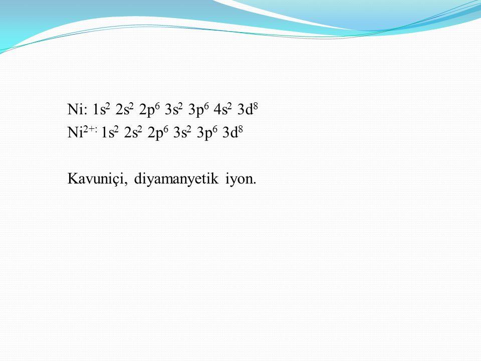 Ni: 1s 2 2s 2 2p 6 3s 2 3p 6 4s 2 3d 8 Ni 2+: 1s 2 2s 2 2p 6 3s 2 3p 6 3d 8 Kavuniçi, diyamanyetik iyon.