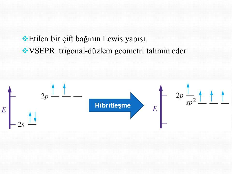  Etilen bir çift bağının Lewis yapısı.  VSEPR trigonal-düzlem geometri tahmin eder Hibritleşme