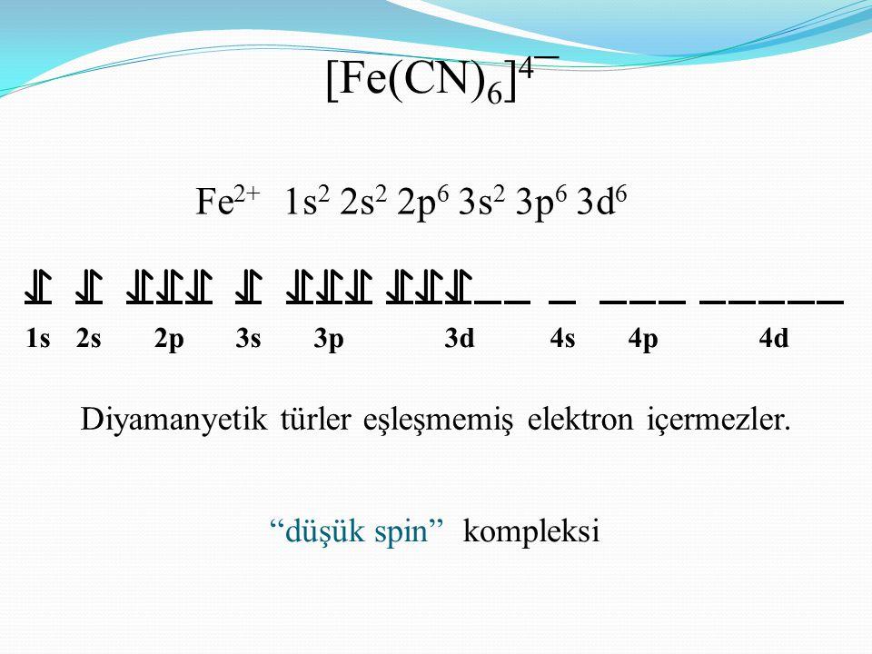 """Fe 2+ 1s 2 2s 2 2p 6 3s 2 3p 6 3d 6 [Fe(CN) 6 ] 4 ¯ 1s2s2p3s3p3d4s4p4d Diyamanyetik türler eşleşmemiş elektron içermezler. """"düşük spin"""" kompleksi"""