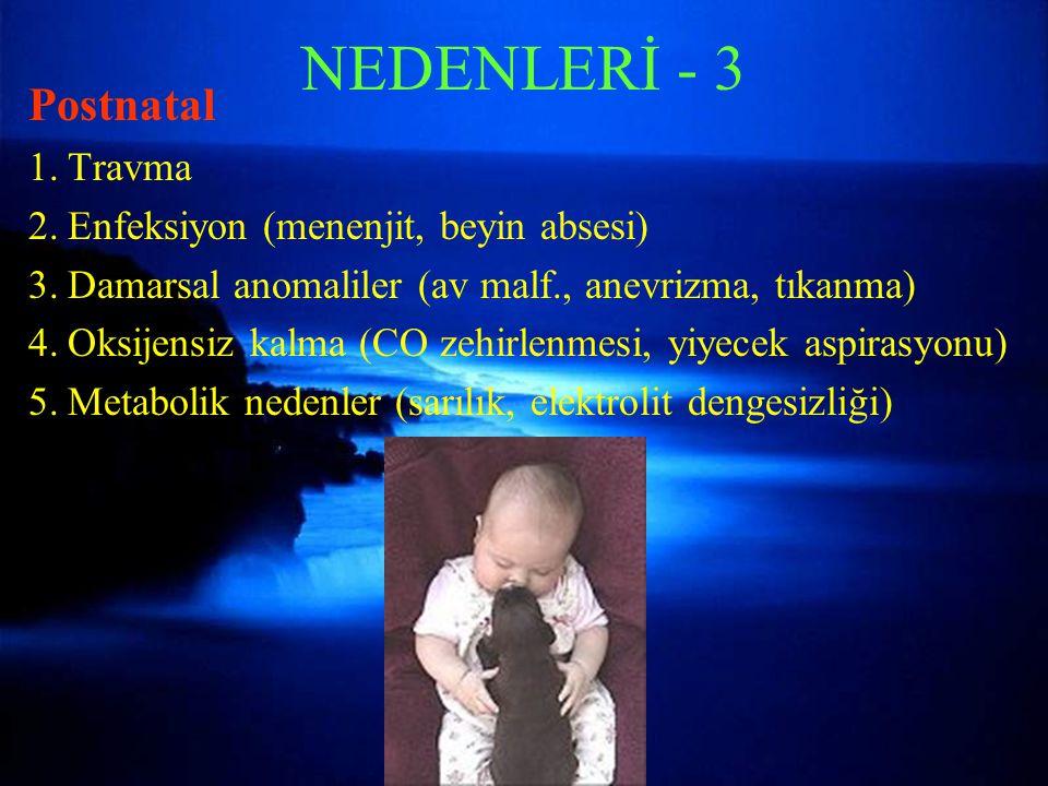 NEDENLERİ - 3 Postnatal 1.Travma 2.Enfeksiyon (menenjit, beyin absesi) 3.Damarsal anomaliler (av malf., anevrizma, tıkanma) 4.Oksijensiz kalma (CO zeh