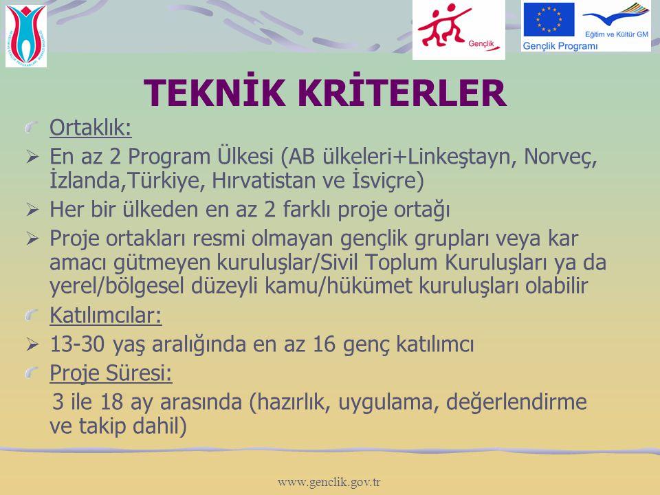 TEKNİK KRİTERLER Ortaklık:  En az 2 Program Ülkesi (AB ülkeleri+Linkeştayn, Norveç, İzlanda,Türkiye, Hırvatistan ve İsviçre)  Her bir ülkeden en az