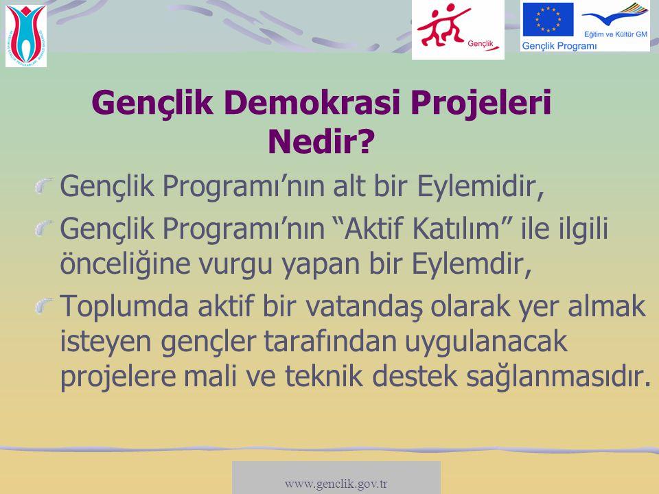 www.salto-youth.net/participation Gençlik Demokrasi Projelerinin Amaçları Gençlerin katılımcı yapılara daha fazla dahil olmasını sağlamak (karar-alma süreçlerine etki), Kamu/hükümet kuruluşları ile gençler arasındaki diyaloğu geliştirmek (danışma süreci), Gençleri siyasi karar-alma süreçlerine yakınlaştıracak stratejiler geliştirmek (katılımı öğrenmek), Gençlerin demokratik hayata katılmalarını engelleyen nedenlerle mücadele etmek (katılmayı öğrenmek/dahil etme süreçleri)...