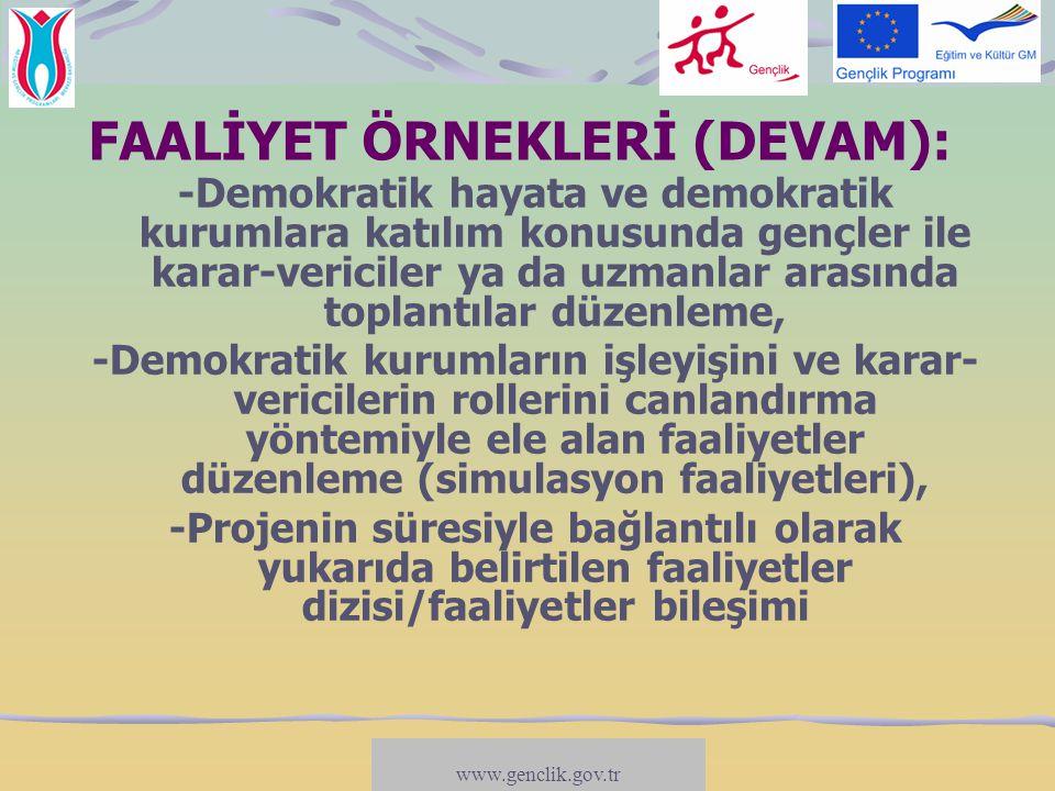 www.salto-youth.net/participation TEMATİK KAVRAM: FAALİYET ÖRNEKLERİ (DEVAM): -Demokratik hayata ve demokratik kurumlara katılım konusunda gençler ile