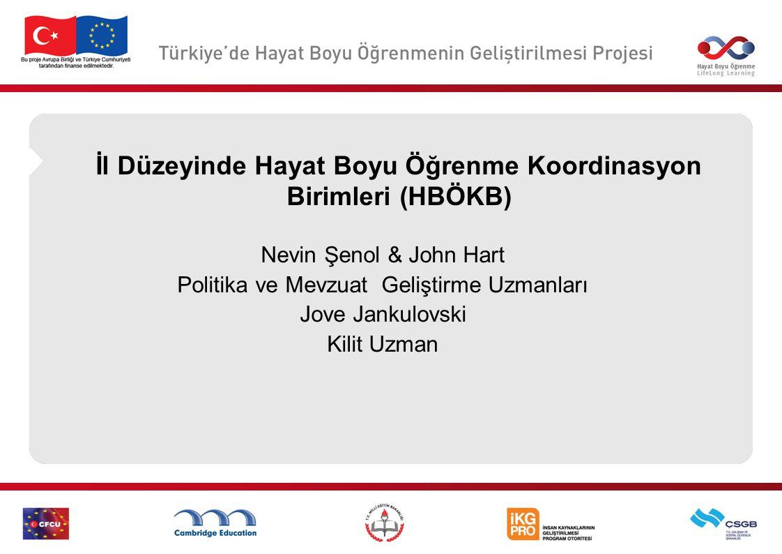 İl Düzeyinde Hayat Boyu Öğrenme Koordinasyon Birimleri (HBÖKB) Nevin Şenol & John Hart Politika ve Mevzuat Geliştirme Uzmanları Jove Jankulovski Kilit