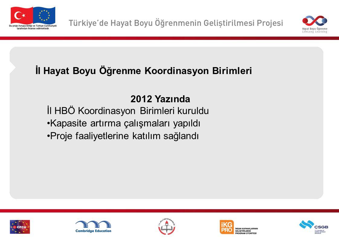 İl Hayat Boyu Öğrenme Koordinasyon Birimleri 2012 Yazında İl HBÖ Koordinasyon Birimleri kuruldu Kapasite artırma çalışmaları yapıldı Proje faaliyetler