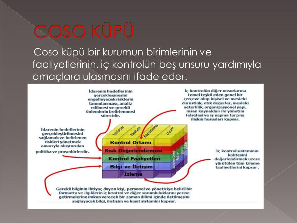 Coso küpü bir kurumun birimlerinin ve faaliyetlerinin, iç kontrolün beş unsuru yardımıyla amaçlara ulasmasını ifade eder.