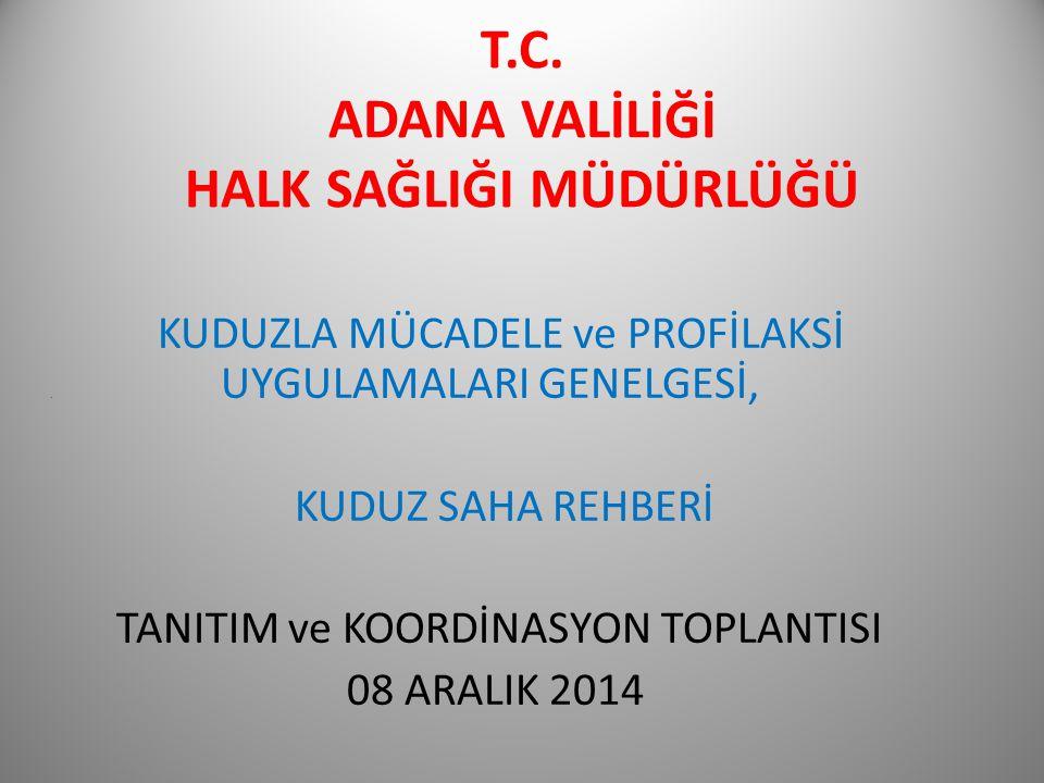 T.C.ADANA VALİLİĞİ HALK SAĞLIĞI MÜDÜRLÜĞÜ KUDUZLA MÜCADELE ve PROFİLAKSİ.