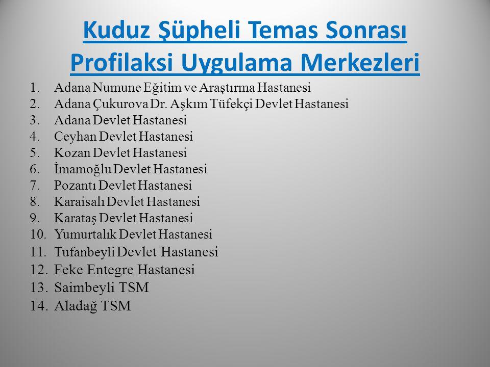 Kuduz Şüpheli Temas Sonrası Profilaksi Uygulama Merkezleri 1.Adana Numune Eğitim ve Araştırma Hastanesi 2.Adana Çukurova Dr. Aşkım Tüfekçi Devlet Hast