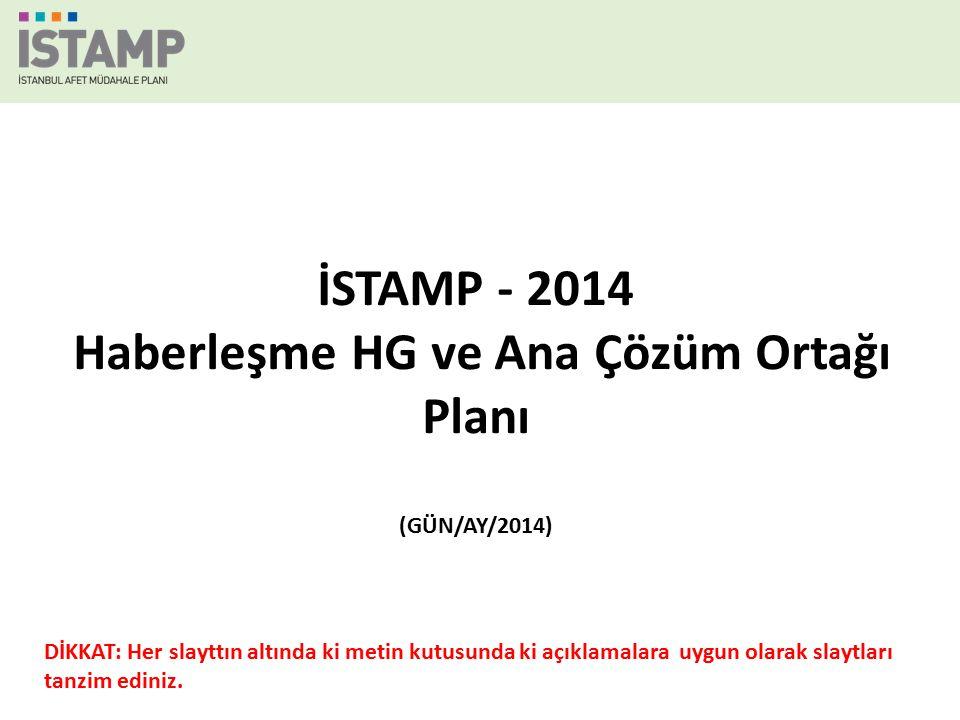 İSTAMP - 2014 Haberleşme HG ve Ana Çözüm Ortağı Planı (GÜN/AY/2014) DİKKAT: Her slayttın altında ki metin kutusunda ki açıklamalara uygun olarak slaytları tanzim ediniz.