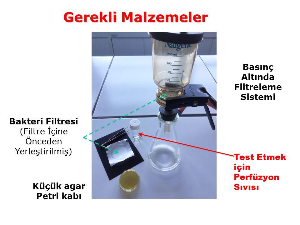 Gerekli Malzemeler Test Etmek için Perfüzyon Sıvısı Basınç Altında Filtreleme Sistemi Küçük agar Petri kabı Bakteri Filtresi (Filtre İçine Önceden Yerleştirilmiş)
