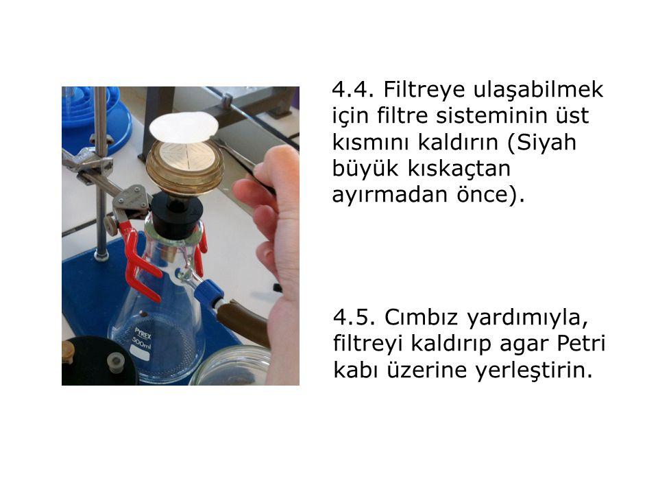 4.4. Filtreye ulaşabilmek için filtre sisteminin üst kısmını kaldırın (Siyah büyük kıskaçtan ayırmadan önce). 4.5. Cımbız yardımıyla, filtreyi kaldırı