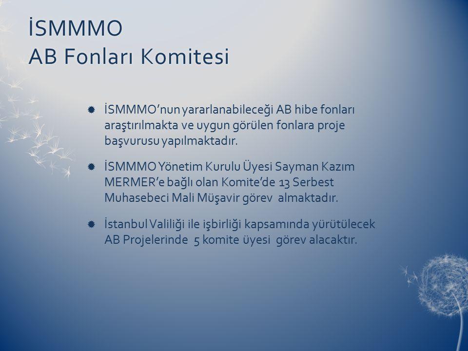 İSMMMO AB Fonları Komitesi  İSMMMO'nun yararlanabileceği AB hibe fonları araştırılmakta ve uygun görülen fonlara proje başvurusu yapılmaktadır.