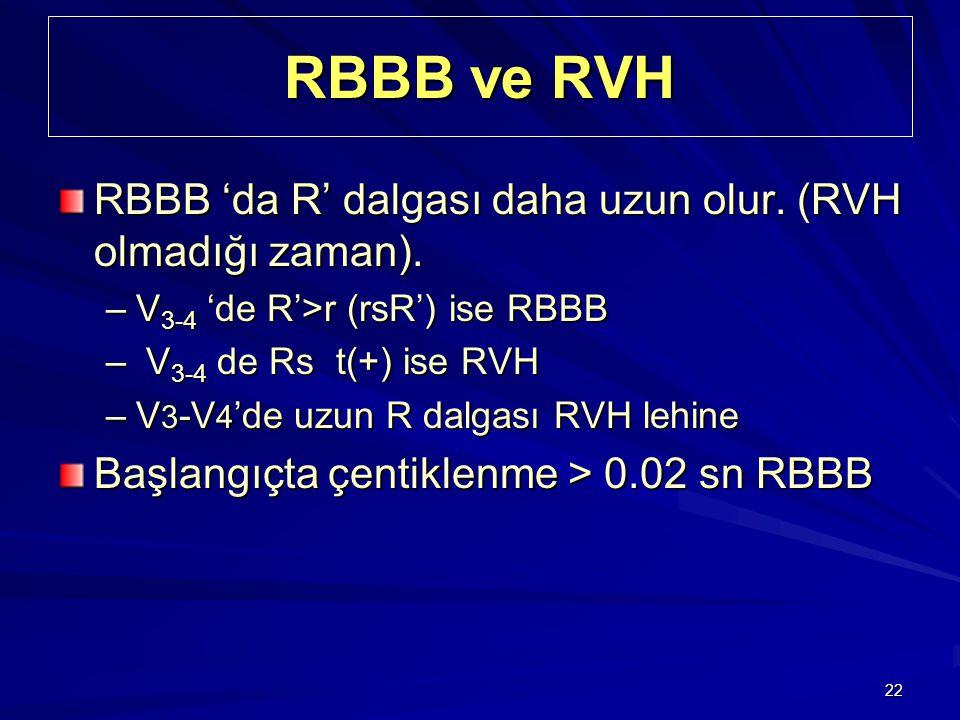 22 RBBB ve RVH RBBB 'da R' dalgası daha uzun olur. (RVH olmadığı zaman). –V 3-4 'de R'>r (rsR') ise RBBB – V 3-4 de Rs t(+) ise RVH –V 3 -V 4 'de uzun