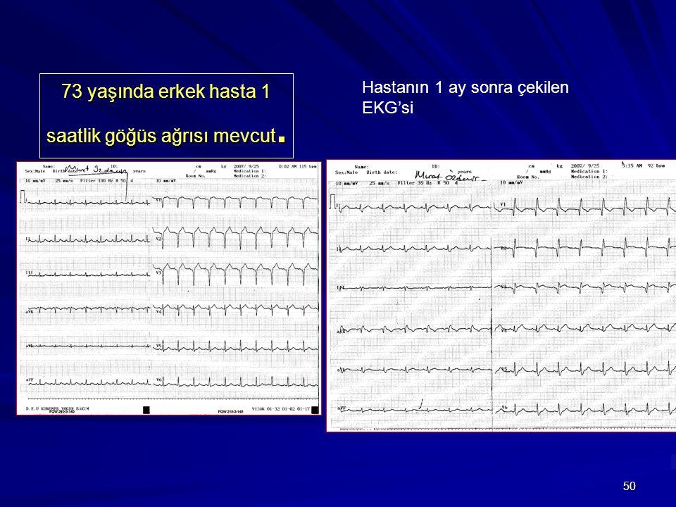 50 73 yaşında erkek hasta 1 saatlik göğüs ağrısı mevcut. Hastanın 1 ay sonra çekilen EKG'si