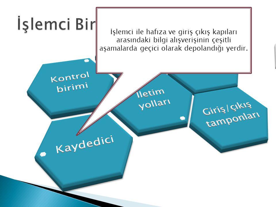 İşlemci ile hafıza ve giriş çıkış kapıları arasındaki bilgi alışverişinin çeşitli aşamalarda geçici olarak depolandığı yerdir.