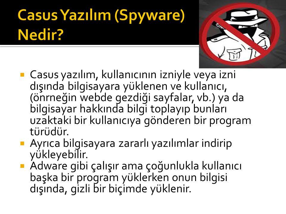  Casus yazılım, kullanıcının izniyle veya izni dışında bilgisayara yüklenen ve kullanıcı, (önrneğin webde gezdiği sayfalar, vb.) ya da bilgisayar hak