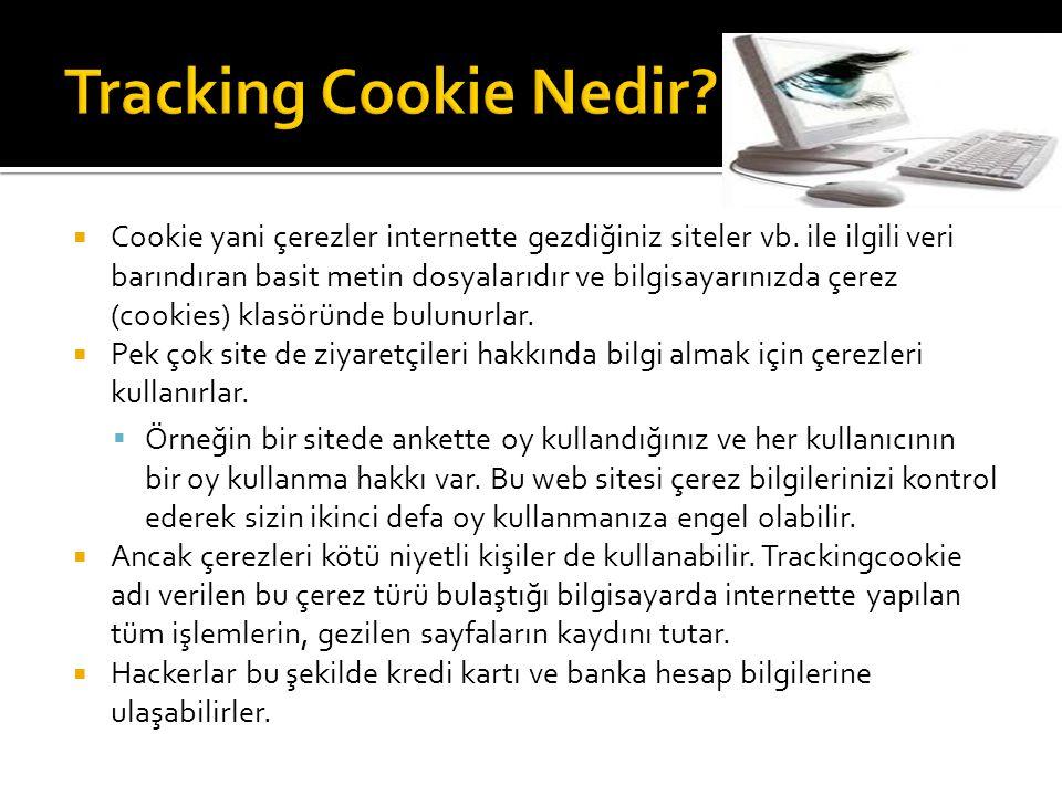  Cookie yani çerezler internette gezdiğiniz siteler vb. ile ilgili veri barındıran basit metin dosyalarıdır ve bilgisayarınızda çerez (cookies) klasö
