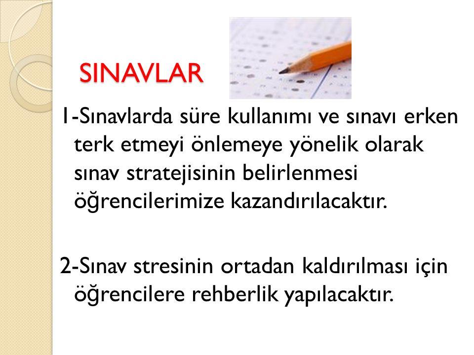 SINAVLAR 1-Sınavlarda süre kullanımı ve sınavı erken terk etmeyi önlemeye yönelik olarak sınav stratejisinin belirlenmesi ö ğ rencilerimize kazandırılacaktır.