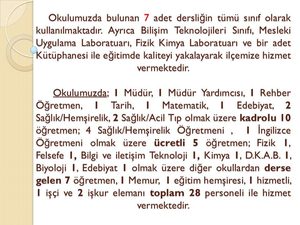 Okulumuzda bulunan 7 adet dersli ğ in tümü sınıf olarak kullanılmaktadır.