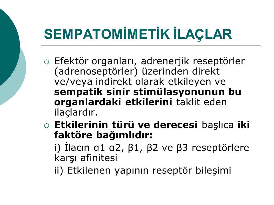 Sınıflandırma Sempatomimetik ilaçlar: i) Katekolaminler ve ii) Sempatomimetik aminler (katekolamin-olmayanlar) diye iki ana bölüme ayrılırlar.