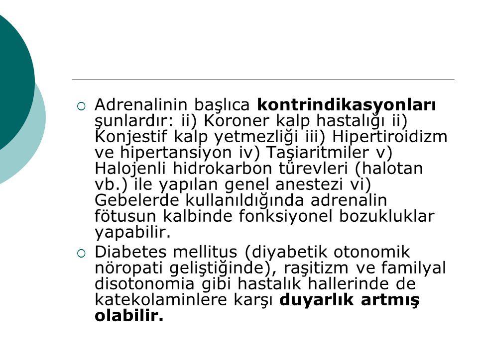  Adrenalinin başlıca kontrindikasyonları şunlardır: ii) Koroner kalp hastalığı ii) Konjestif kalp yetmezliği iii) Hipertiroidizm ve hipertansiyon iv)