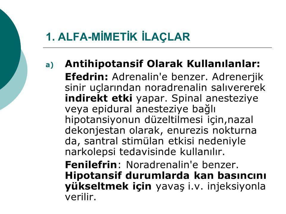 1. ALFA-MİMETİK İLAÇLAR a) Antihipotansif Olarak Kullanılanlar: Efedrin: Adrenalin'e benzer. Adrenerjik sinir uçlarından noradrenalin salıvererek indi