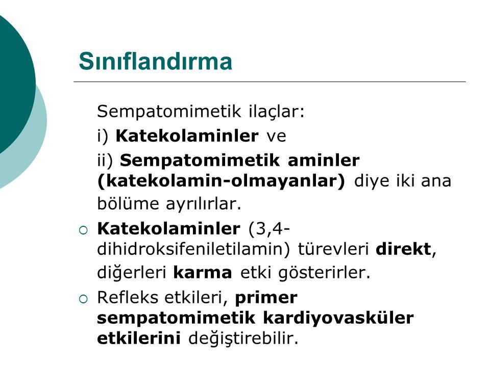Sınıflandırma Sempatomimetik ilaçlar: i) Katekolaminler ve ii) Sempatomimetik aminler (katekolamin-olmayanlar) diye iki ana bölüme ayrılırlar.  Katek