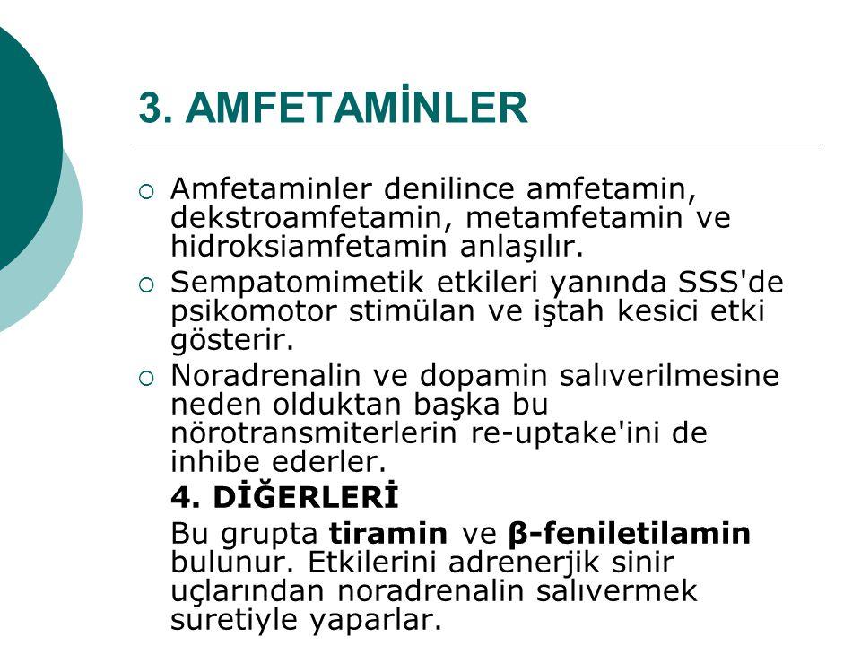 3. AMFETAMİNLER  Amfetaminler denilince amfetamin, dekstroamfetamin, metamfetamin ve hidroksiamfetamin anlaşılır.  Sempatomimetik etkileri yanında S