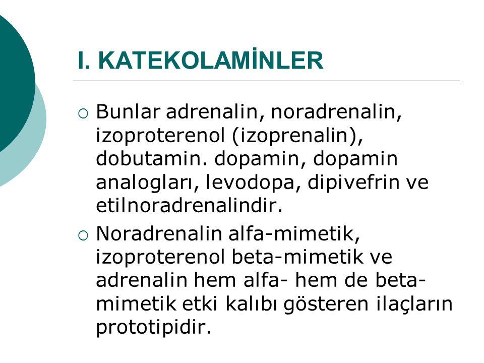 I. KATEKOLAMİNLER  Bunlar adrenalin, noradrenalin, izoproterenol (izoprenalin), dobutamin. dopamin, dopamin analogları, levodopa, dipivefrin ve etiln