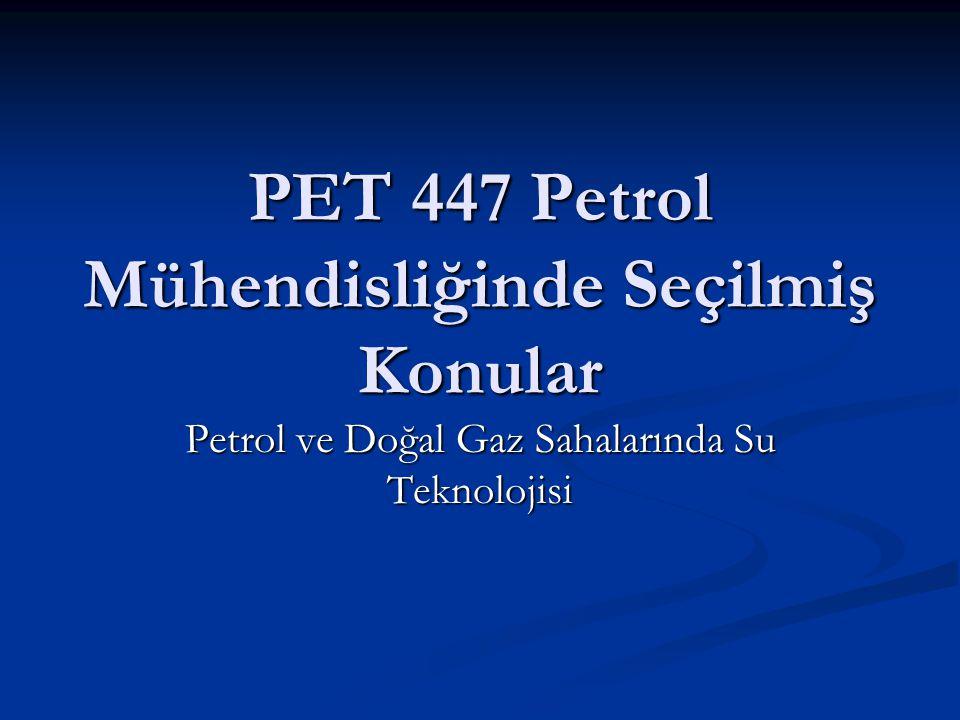 PET 447 Petrol Mühendisliğinde Seçilmiş Konular Petrol ve Doğal Gaz Sahalarında Su Teknolojisi
