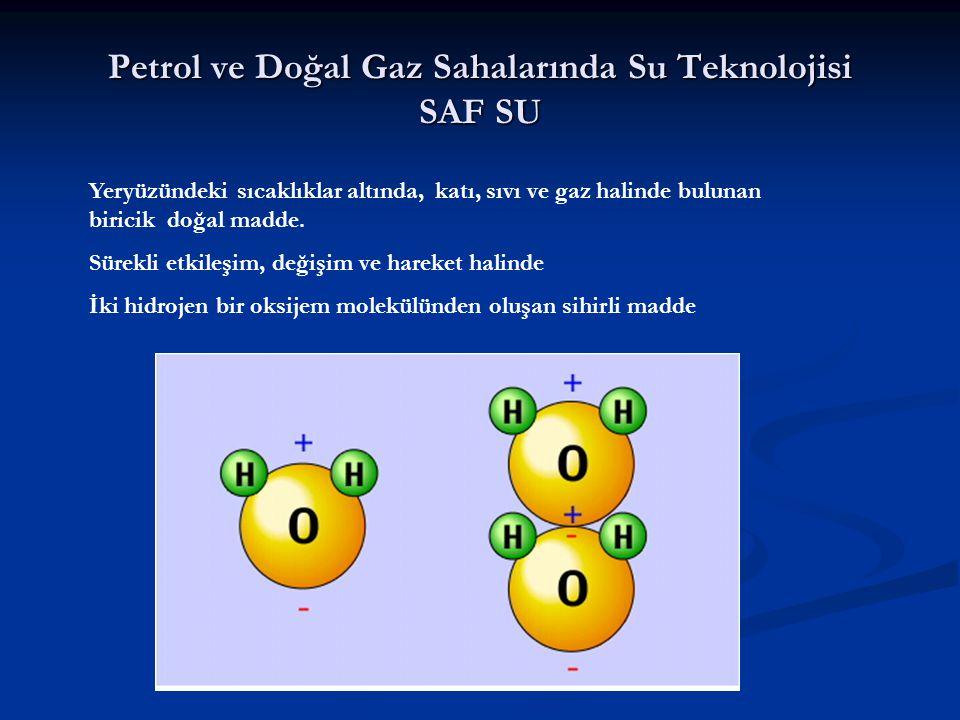 Petrol ve Doğal Gaz Sahalarında Su Teknolojisi SAF SU Yeryüzündeki sıcaklıklar altında, katı, sıvı ve gaz halinde bulunan biricik doğal madde. Sürekli