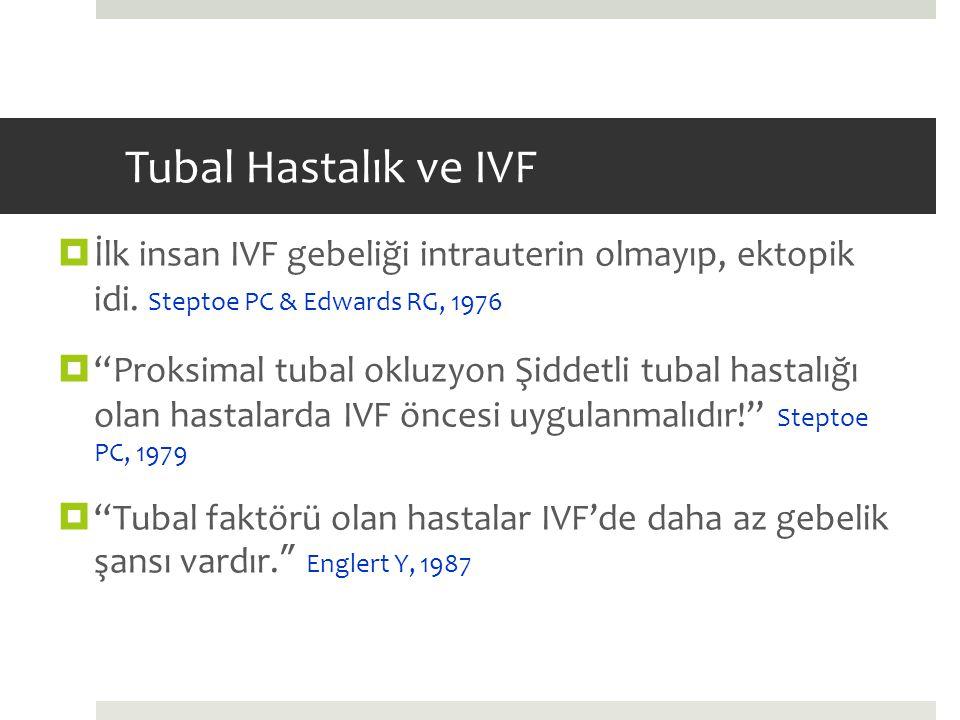 """Tubal Hastalık ve IVF  İlk insan IVF gebeliği intrauterin olmayıp, ektopik idi. Steptoe PC & Edwards RG, 1976  """"Proksimal tubal okluzyon Şiddetli tu"""