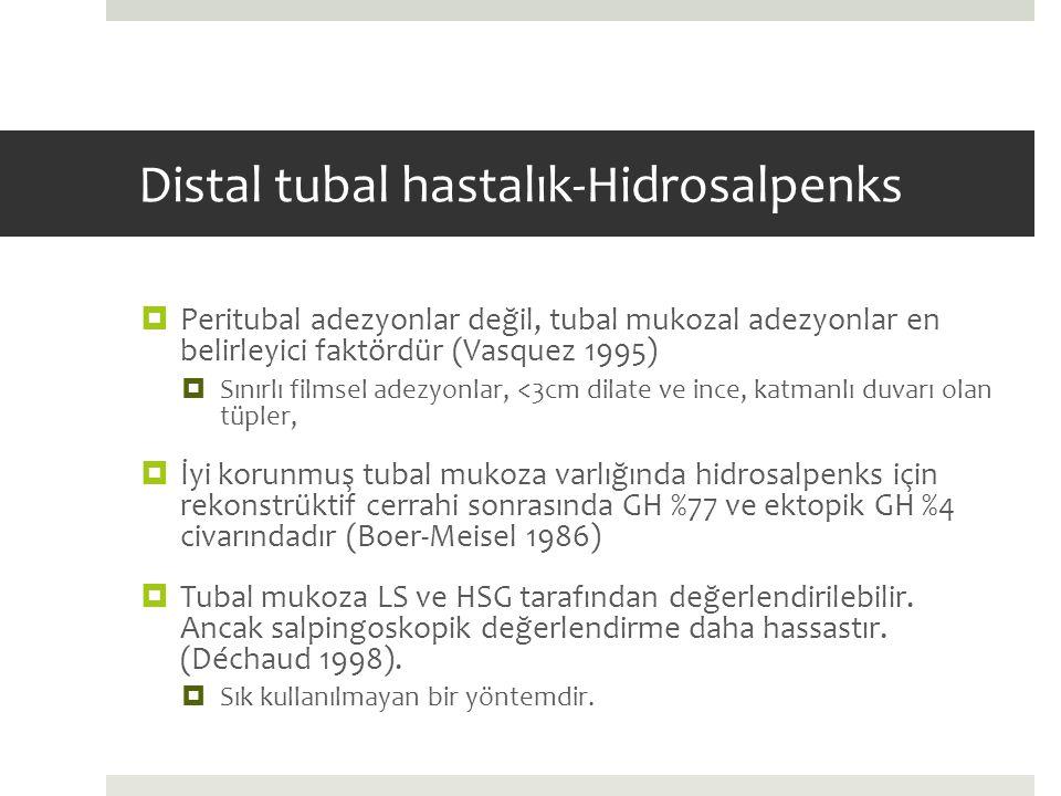 Distal tubal hastalık-Hidrosalpenks  Peritubal adezyonlar değil, tubal mukozal adezyonlar en belirleyici faktördür (Vasquez 1995)  Sınırlı filmsel a