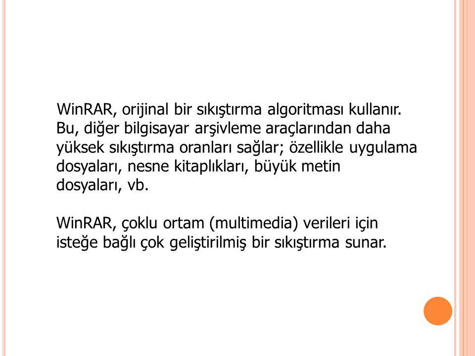WinRAR, orijinal bir sıkıştırma algoritması kullanır. Bu, diğer bilgisayar arşivleme araçlarından daha yüksek sıkıştırma oranları sağlar; özellikle uy