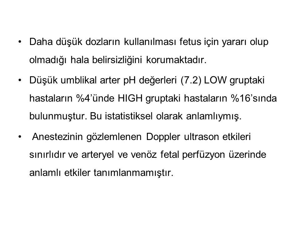 Daha düşük dozların kullanılması fetus için yararı olup olmadığı hala belirsizliğini korumaktadır. Düşük umblikal arter pH değerleri (7.2) LOW gruptak