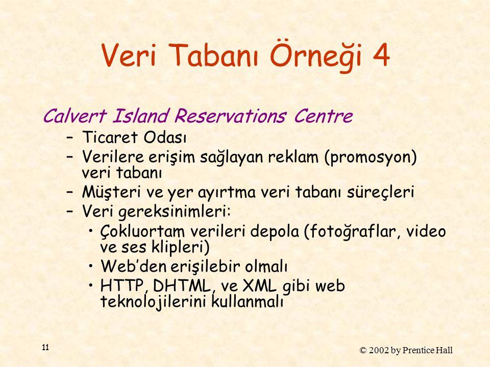 © 2002 by Prentice Hall 11 Veri Tabanı Örneği 4 Calvert Island Reservations Centre –Ticaret Odası –Verilere erişim sağlayan reklam (promosyon) veri tabanı –Müşteri ve yer ayırtma veri tabanı süreçleri –Veri gereksinimleri: Çokluortam verileri depola (fotoğraflar, video ve ses klipleri) Web'den erişilebir olmalı HTTP, DHTML, ve XML gibi web teknolojilerini kullanmalı