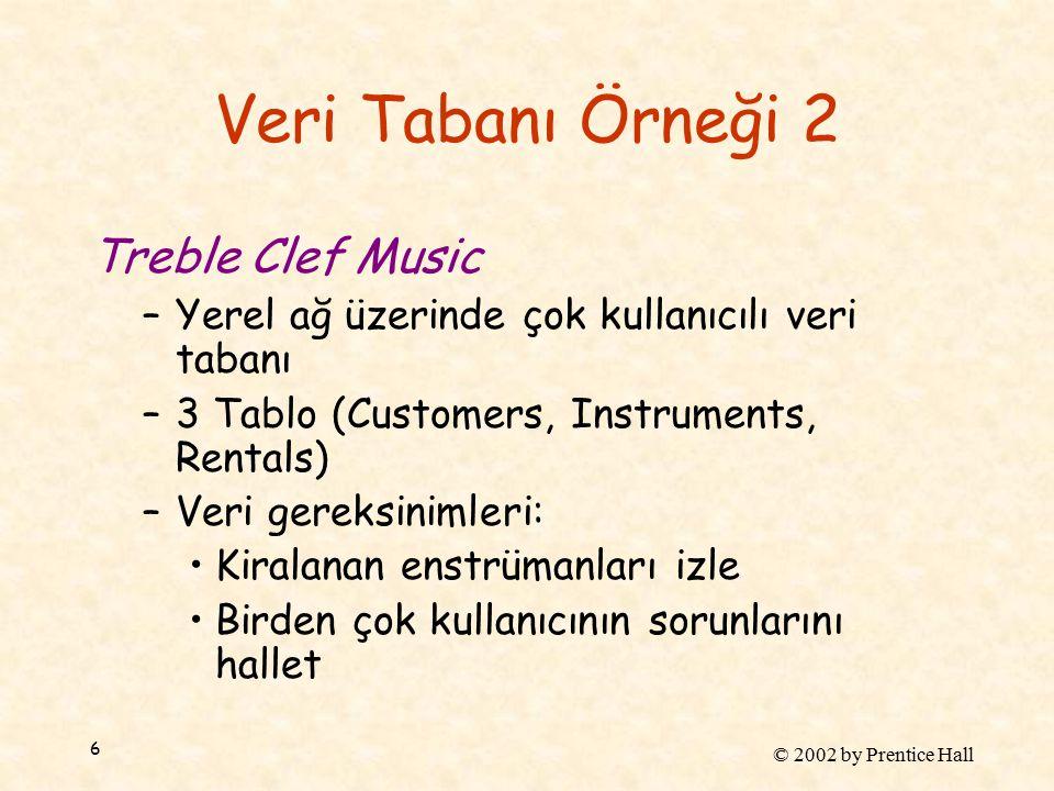 © 2002 by Prentice Hall 6 Veri Tabanı Örneği 2 Treble Clef Music –Yerel ağ üzerinde çok kullanıcılı veri tabanı –3 Tablo (Customers, Instruments, Rentals) –Veri gereksinimleri: Kiralanan enstrümanları izle Birden çok kullanıcının sorunlarını hallet