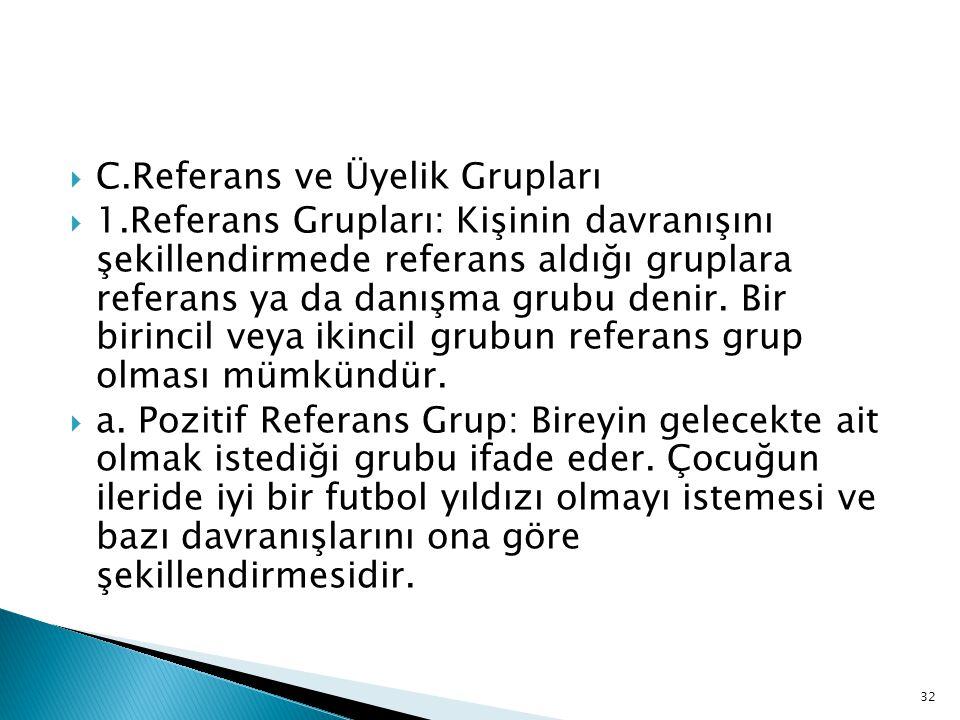  C.Referans ve Üyelik Grupları  1.Referans Grupları: Kişinin davranışını şekillendirmede referans aldığı gruplara referans ya da danışma grubu denir.