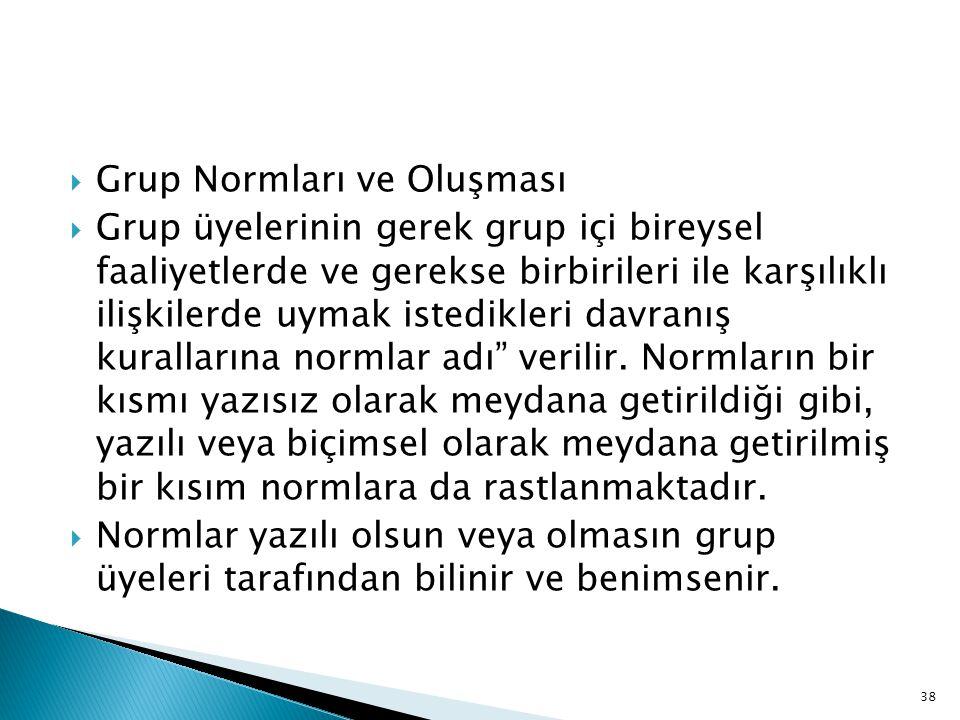  Grup Normları ve Oluşması  Grup üyelerinin gerek grup içi bireysel faaliyetlerde ve gerekse birbirileri ile karşılıklı ilişkilerde uymak istedikleri davranış kurallarına normlar adı verilir.