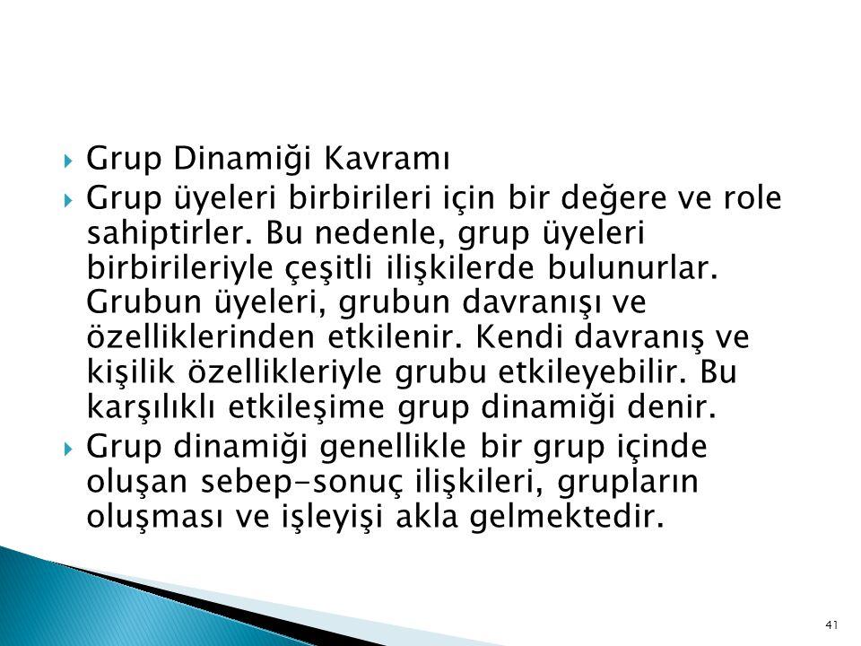  Grup Dinamiği Kavramı  Grup üyeleri birbirileri için bir değere ve role sahiptirler.