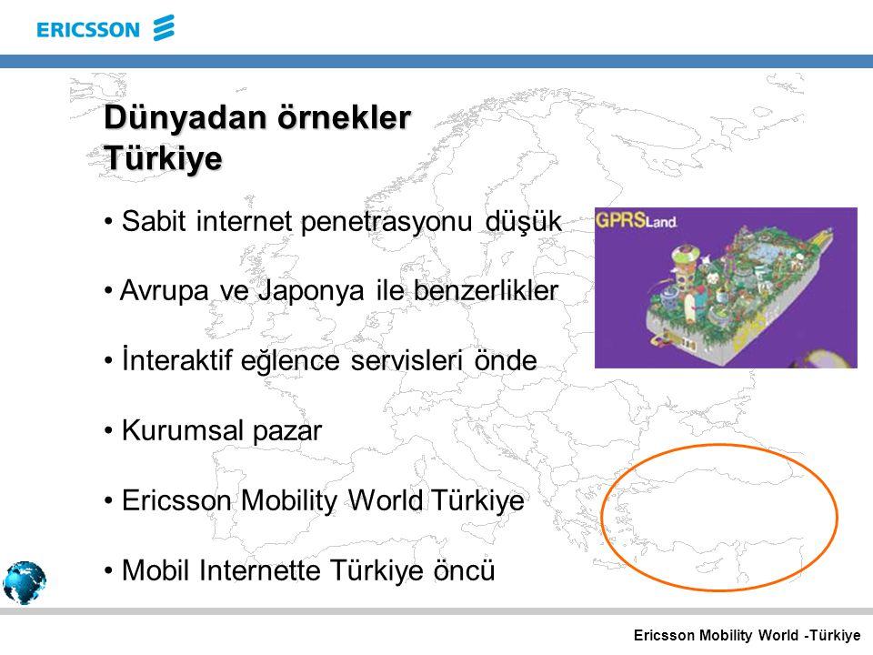 Ericsson Mobility World -Türkiye Dünyadan örnekler Türkiye Sabit internet penetrasyonu düşük Avrupa ve Japonya ile benzerlikler İnteraktif eğlence servisleri önde Kurumsal pazar Ericsson Mobility World Türkiye Mobil Internette Türkiye öncü