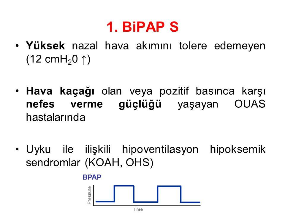 1. BiPAP S Yüksek nazal hava akımını tolere edemeyen (12 cmH 2 0 ↑) Hava kaçağı olan veya pozitif basınca karşı nefes verme güçlüğü yaşayan OUAS hasta