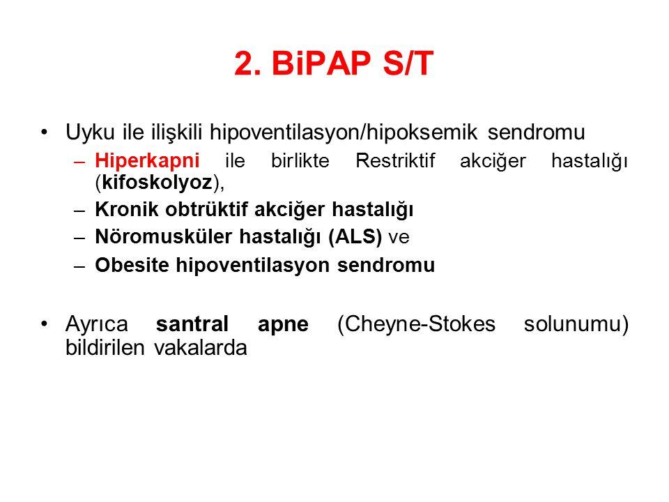 2. BiPAP S/T Uyku ile ilişkili hipoventilasyon/hipoksemik sendromu –Hiperkapni ile birlikte Restriktif akciğer hastalığı (kifoskolyoz), –Kronik obtrük