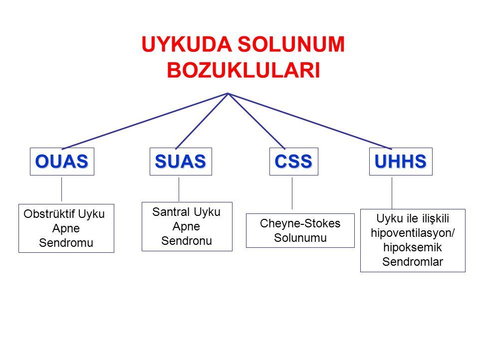 OUASSUASCSSUHHS Obstrüktif Uyku Apne Sendromu Santral Uyku Apne Sendronu Cheyne-Stokes Solunumu Uyku ile ilişkili hipoventilasyon/ hipoksemik Sendromlar UYKUDA SOLUNUM BOZUKLULARI