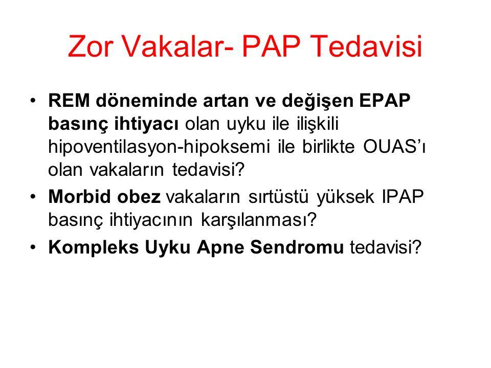 Zor Vakalar- PAP Tedavisi REM döneminde artan ve değişen EPAP basınç ihtiyacı olan uyku ile ilişkili hipoventilasyon-hipoksemi ile birlikte OUAS'ı olan vakaların tedavisi.