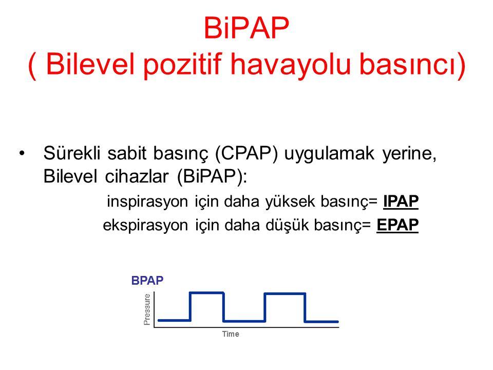 BiPAP ( Bilevel pozitif havayolu basıncı) Sürekli sabit basınç (CPAP) uygulamak yerine, Bilevel cihazlar (BiPAP): inspirasyon için daha yüksek basınç= IPAP ekspirasyon için daha düşük basınç= EPAP BPAP